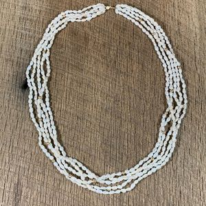 14k Beaded Rice Pearl Multi-Strand Necklace